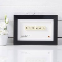 Name Scrabble Art, White/Black