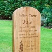 Engraved Oak Headstone