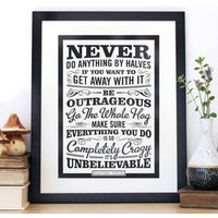 'Be Outrageous' Roald Dahl Quote Print, Black/Ivory/Teal