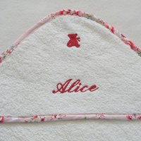 Personalised Hooded Baby Towel With Pink Floral Trim, Pink