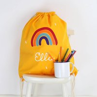 Kids Rainbow Gym Bag With Name