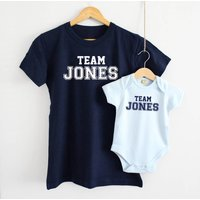 Team Surname Mother And Baby T Shirt Set, Grey/White/Navy