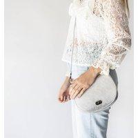 Silver Metallic Leather Saddlebag Handbag