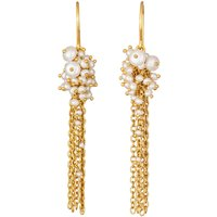 Small Gold And Pearl Tassel Earrings, Gold