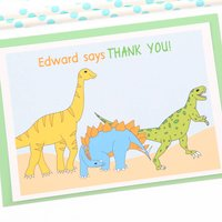 Dinosaurs Personalised Thank You Note Cards, Green