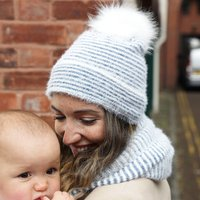 Blue And White Striped Bobble Hat