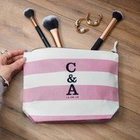 Initials And Date Wedding Or Anniversary Make Up Bag
