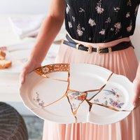 Gold Hand Painted Porcelain Platter Plate