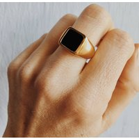 18ct Gold Or Recycled Silver Black Onyx Signet Ring, Silver