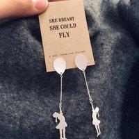 Balloon Girl Silver Earrings, Silver