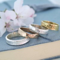 Textured Wedding Ring In White, Yellow Or Rose Gold, Gold