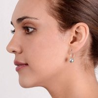 Sterling Silver Ball Through Hoop Earrings, Silver
