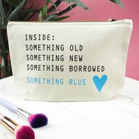 Brides Inside Something Blue Make Up Bag, Cream/Black