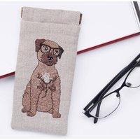 Embroidered Border Terrier Glasses Case