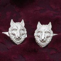 Wolf Head Cufflinks In Sterling Silver, Silver