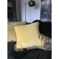 Velvet Cushion With Fringe Sunshine