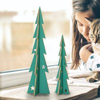 Two Nordic Green Christmas Tree Standing Decorations