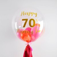 Personalised Pink And Orange Clear Bubble Balloon