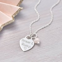 Personalised Sterling Silver Heart Charm Necklace, Silver