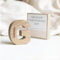 Personalised Christening Mini Oak Letter