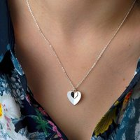 Personalised Silver And Rose Gold Heart Necklace, Silver