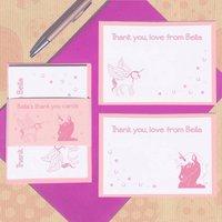 Personalised Unicorn Thank You Card Set, Pink/Powder Blue/Blue
