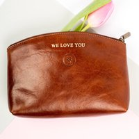 Personalised Mothers Day Makeup Bag Gift. The Chia, Chestnut/Tan/Chocolate