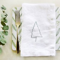 Embroidered Nordic Tree Linen Napkins