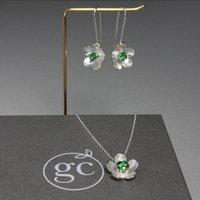 Silver Birthstone Necklace And Long Earrings Set, Silver