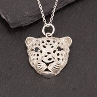 Silver And Sapphire Leopard Pendant, Silver