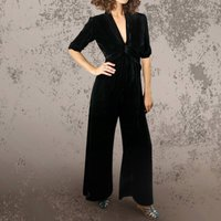 Timeless Silk Velvet Jumpsuit In Black