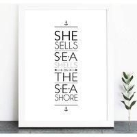 She Sells Sea Shells On The Sea Shore Print