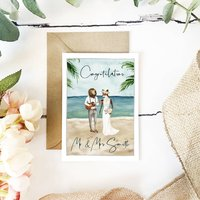 Wedding Day Card Beach Congratulations Personalised