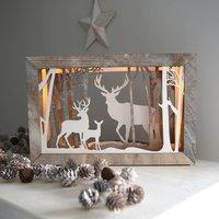 Reindeer Woodland Illuminated Box Frame