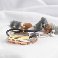 Personalised Bar And Suede Cord Bracelet