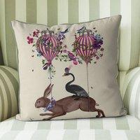 Hare And Hot Air Balloon Cushion