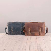 Worn Look Genuine Leather Messenger Bag