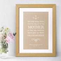 Grandmother Personalised Mother's Day Print, Cream/Peach/Sage