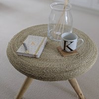 Round Wooden Side Table With Wicker