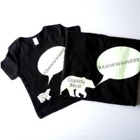 Glow In The Dark Daddy Bear And Baby Bear T Shirt Set