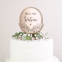 Rose Gold Wedding Cake Topper Floral