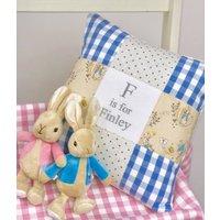 Peter Rabbit Alphabet Cushion Gingham