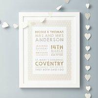 Personalised Wedding Details Print, Grey/Red