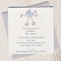 Eight Personalised Baby Shower Invitations, Pink/Blue/Lilac