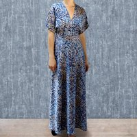 Maxi Dress In Blue Japan Floral Print Crepe