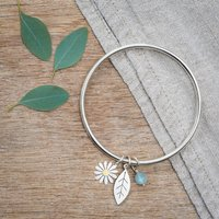Aster And Leaf Bangle In Solid Silver And 18ct Gold, Silver