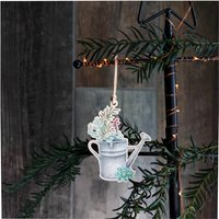 Wooden Christmas Watering Can Tree Decoration