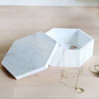 Marble Hexagonal Wooden Trinket Box