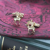Stag Cufflinks In Solid Gold, Gold