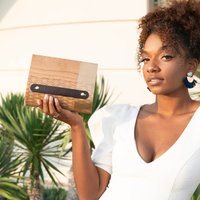 Cherry Hardwood And Leather Clutch Bag